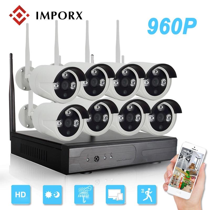 IMPORX Plug and Play 8CH 960P Wireless NVR Kit Outdoor Wifi CCTV Security System Video Surveillance Kit IR Night Visoion 2TB HDD