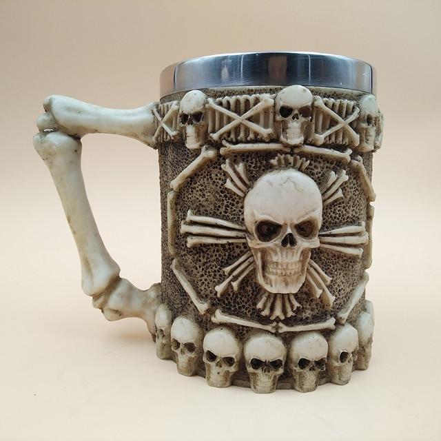 New Halloween 3D Multi Skull Mug Stainless Steel Drinking Crypt Tankard Coffee Tea Bottle Mug Skull Knight Drinking Mug Gift 1