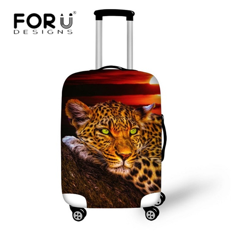 FORUDESIGNS 3D Leopard Lion Tiger Print Luggage Cover Travel Suitcase Protective Covers For 18-30 Inch Cases Elastic Thick Cover