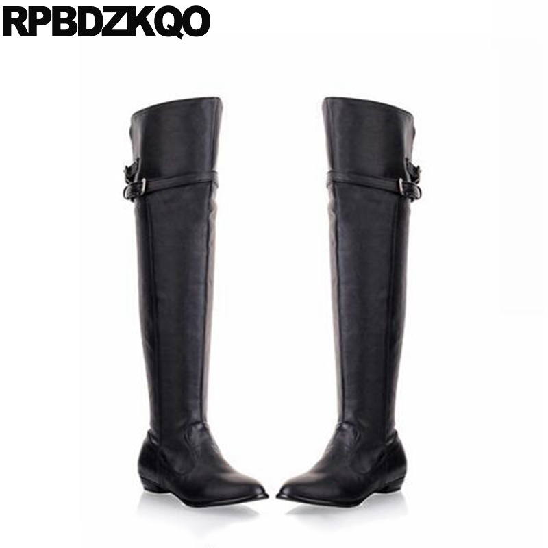 Over The Knee Wedge Flat Brown Cheap Size 10 43 Shoes Long Big 13 45 Waterproof Fur Thigh High Boots For Plus Women Metal