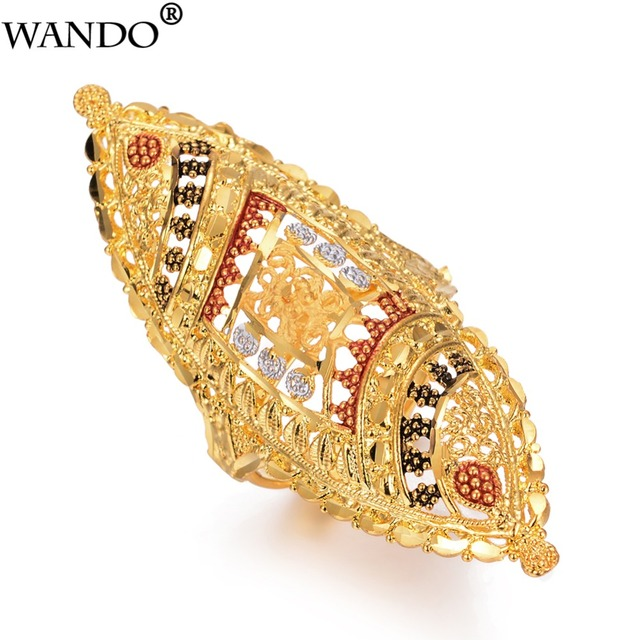 7e10ca0216 ... Jewelry Ethiopian African Party Gift. Wando Luxurious Arab Gold Color  Free Size Big Ring For Women Girl Middle East Dubai Wedding