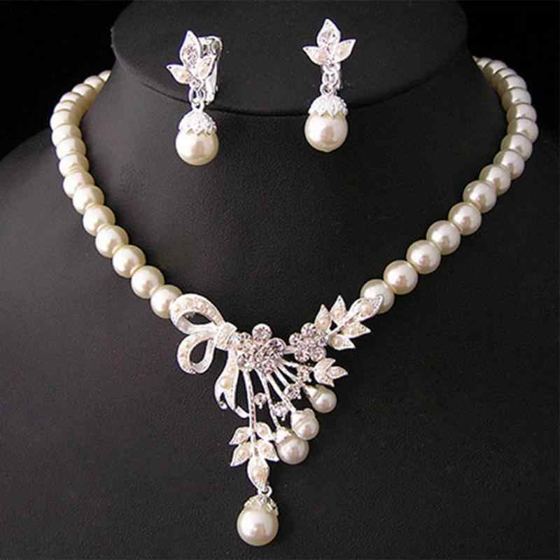 Female Jewelry Set Crystal Pearl Silver Plated Necklace Earrings Wedding Party Bridal Wedding Party Wearing Jewelry Set