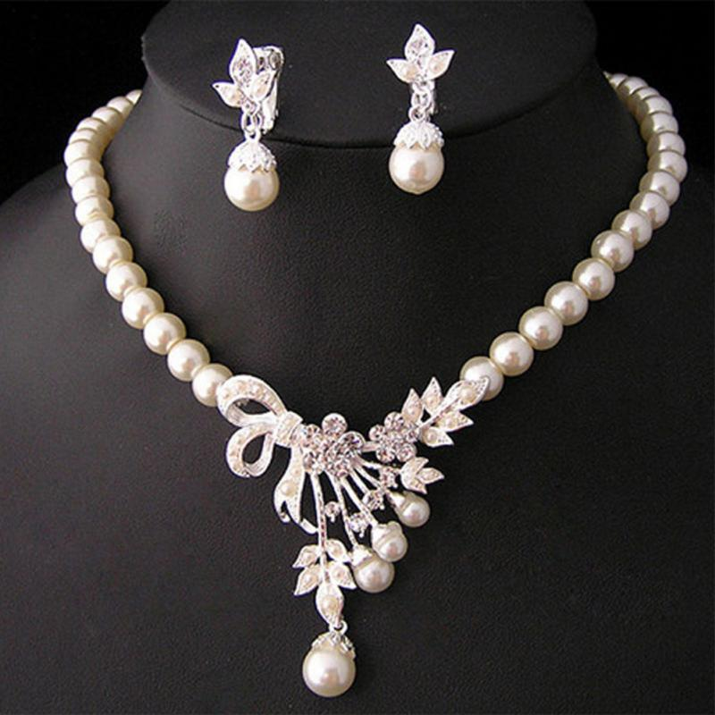 Jewelry Set Crystal Pearl Silver Plated Necklace Earrings Wedding Party Bridal Wedding Party Wearing Jewelry Set