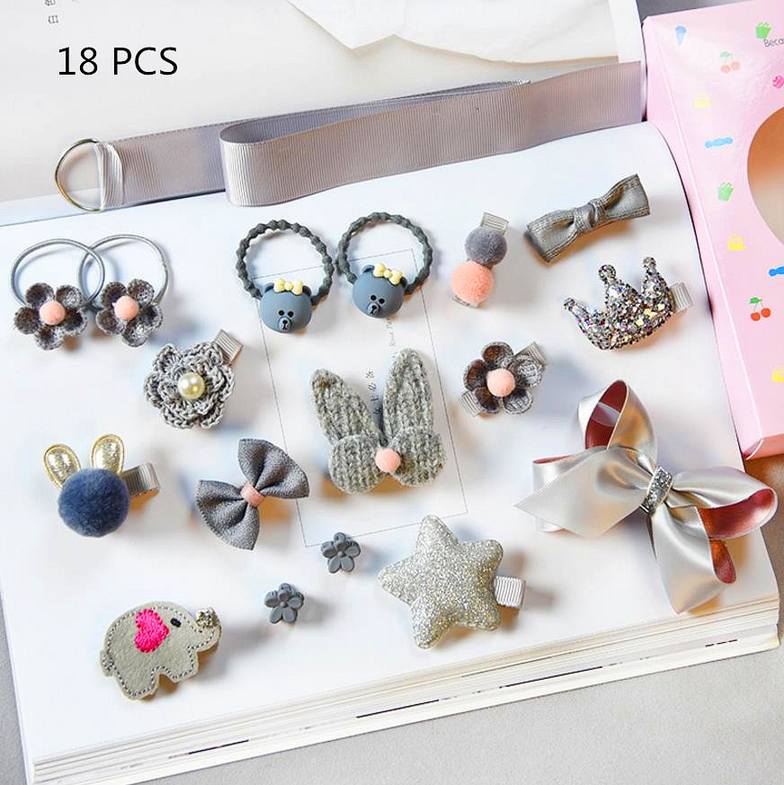 10-18pcs/lot Children hair Accessories Headwear gift Set Ribbon Bow Rabbit Hair clip Hairpins Girls Princess Crown barrrette T21 cheap 1pcs women headwear scissors comb hair clip hair accessories headpiece hairpin headwear gold silver color drop shipping