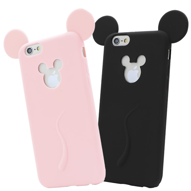 Cute Candy Colors Colorful 3D Soft Mickey Mouse Ear Silicone Cartoon Phone Case Cover for iphone 6 6S 4.7Inch Guard Coque Fundas