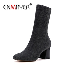 ENMAYER Brand Black Sock Boots Chunky High Heels Ankle Boots For Women Sexy Booties Pointed Toe Elastic Stretch Size 4-10 CR821 2018 stretch women autumn sexy booties sock boots heel knit boots slip on ankle thin heels pointed toe pump black apricot 8cm