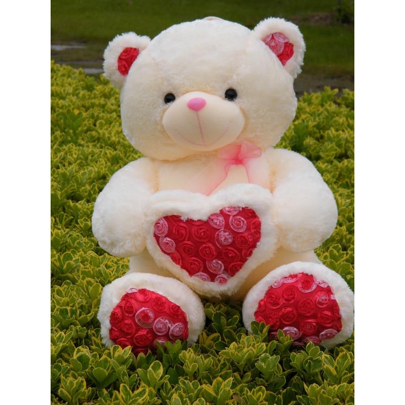 2017 New 60cm Teddy Bear Lover Heart Plush Wedding Bear Love Plush Toy Doll Bear Rose Satin Heart Hold Valentine's Day Gift new creative plush bear toy cute lying bow teddy bear doll gift about 50cm