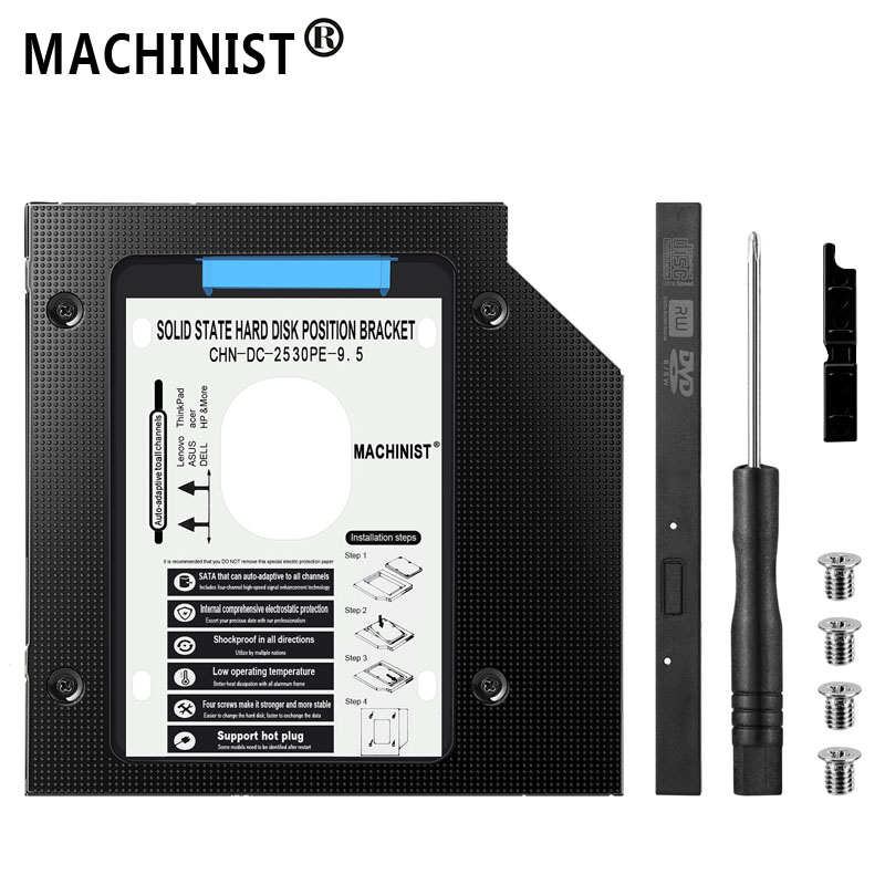 SSD HDD Caddy 9.5mm Optibay SATA 3.0 Hard Disk Drive Enclosure DVD Adapter 2.5