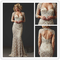 MANSA 2016 Elegant Sweetheart Mother Of The Bride Lace Dresses Gorgeous Long Sleeve Mother Bride Dress Vestido Madrinha