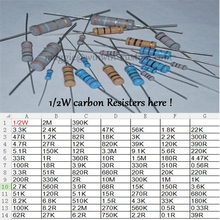Бесплатная Доставка 500 шт. 100R 1/2 Вт DIP Резисторы углерода Сопротивления 1/2 Вт ом 5% Углерода Резистор другое значение пожалуйста, проверьте страницу