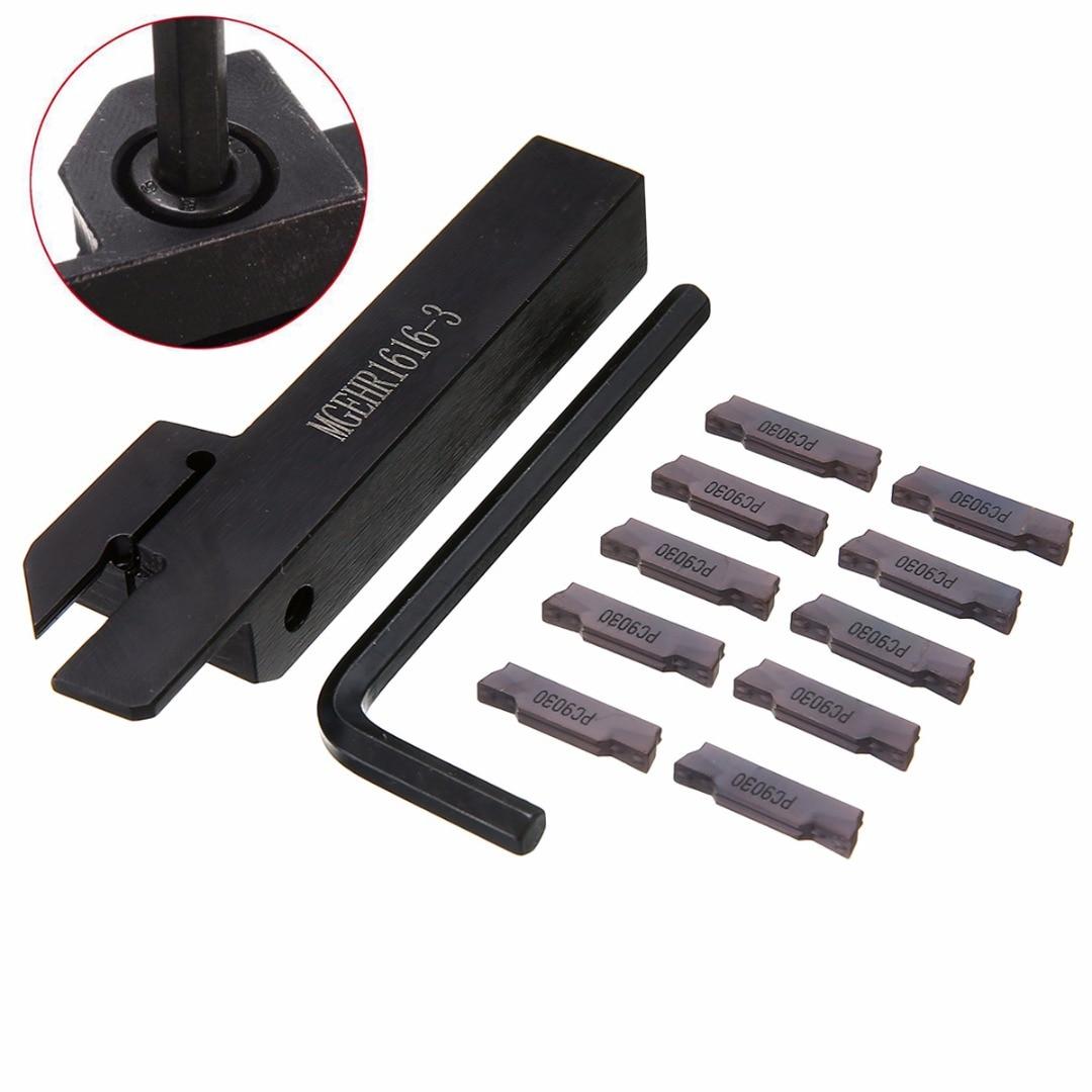 1 pz MGEHR1616-3 CNC Tornio Tornitura Supporti strumenti Barra con 10 pz Inserti MGMN300 e Chiave Per Utensili Elettrici
