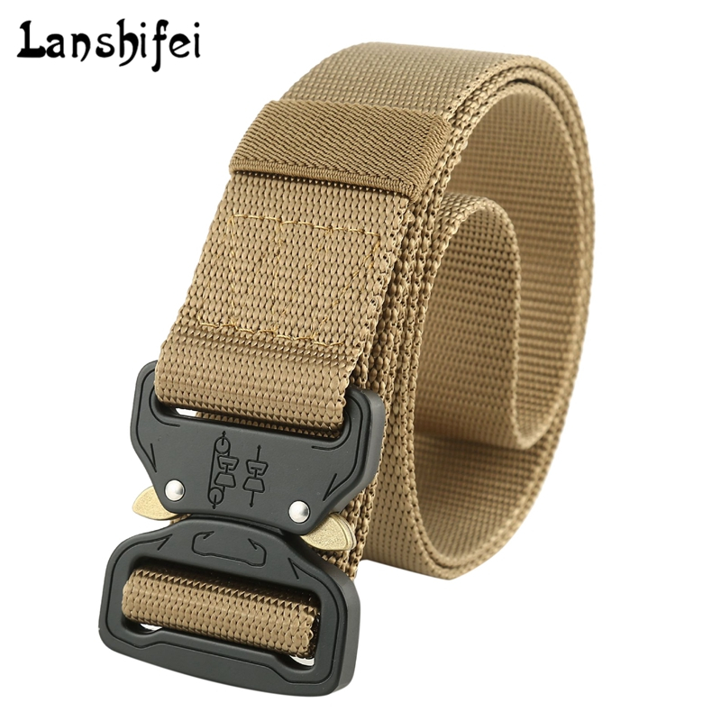 Men's Army Tactical Belt Nylon Training Belt Metal Buckle Men's Military Waist Belts Cummerbunds High Quality Strap Ceintures
