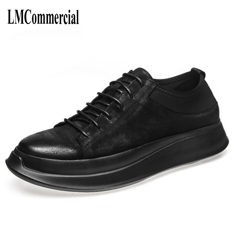European Pro Korean Polo shoes soled casual shoes black small dirty shoes vintage leather shoes
