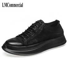 European Pro Korean Polo shoes soled casual black small dirty vintage leather
