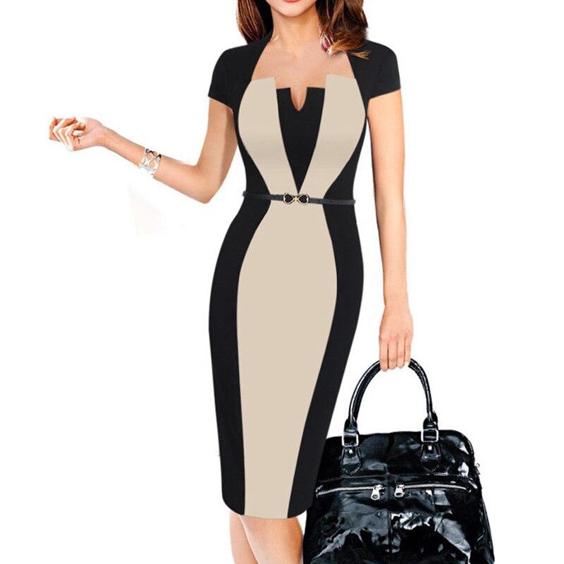 2018 Sommer Frauen Retro Kontrast Patchwork Gürtel Tragen Zu Arbeiten Business Vestidos Büro Bodycon Bleistift Weibliche Einteiliges Kleid Anzug