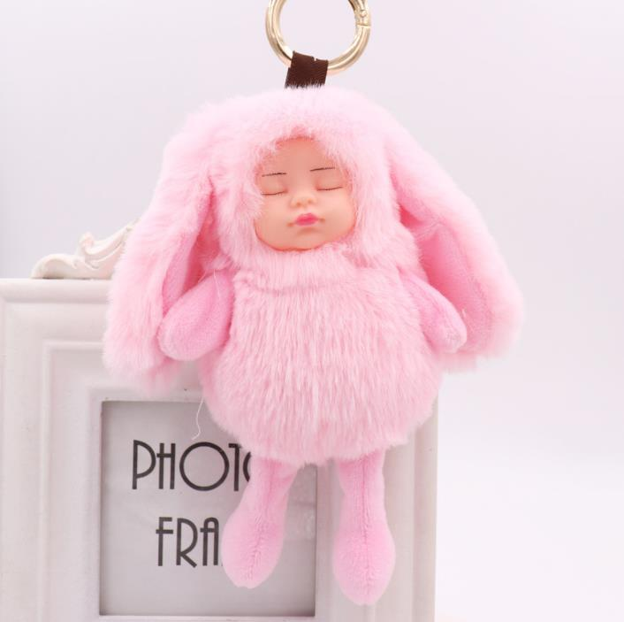 Big Size Sleeping Baby Doll Keychain Rabbit Ear Pompom <font><b>Plush</b></font> <font><b>toy</b></font> <font><b>key</b></font> <font><b>chain</b></font> Car decorate image