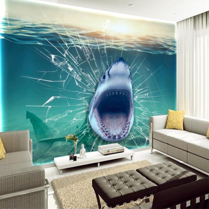 New Printed Underwater Shark Fish Broken Glass Custom Art Canvas View Wallpapers Living Room Wall Home Decorations YBZ040