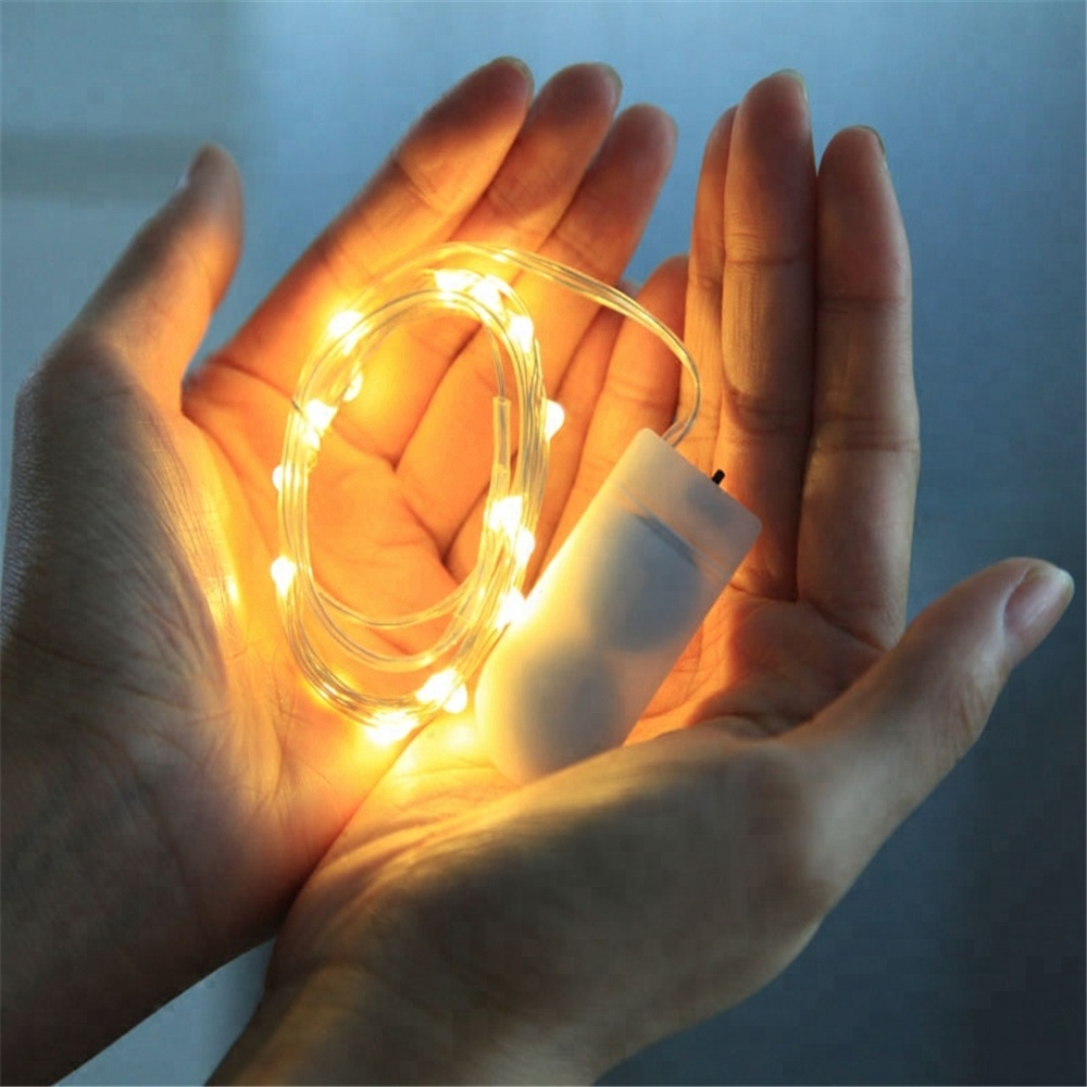 1M 2M 10LED 20LED Led String Lights Christmas Decoration Colorful Waterproof Battery Operated Mini Silver Party Wedding
