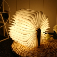 LED Book Light Portable USB Rechargeable LED Magnetic Foldable Wooden Book Lamp Night Lights Table Lamp for Christmas Home Decor