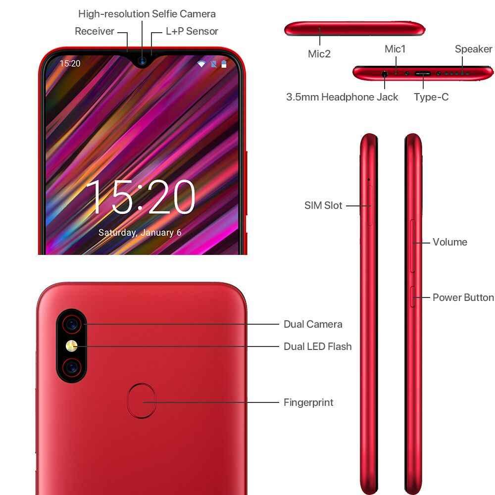 2019 new Global Version UMIDIGI F1 Android 9 0 mobile phone 6 3