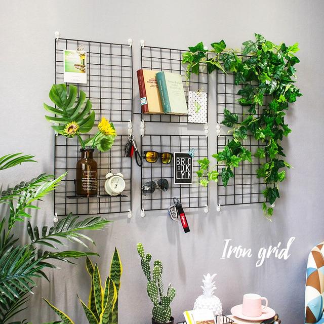 Wrought Iron Grid Green Wall Decoration Shelf Living Room Photo Wall