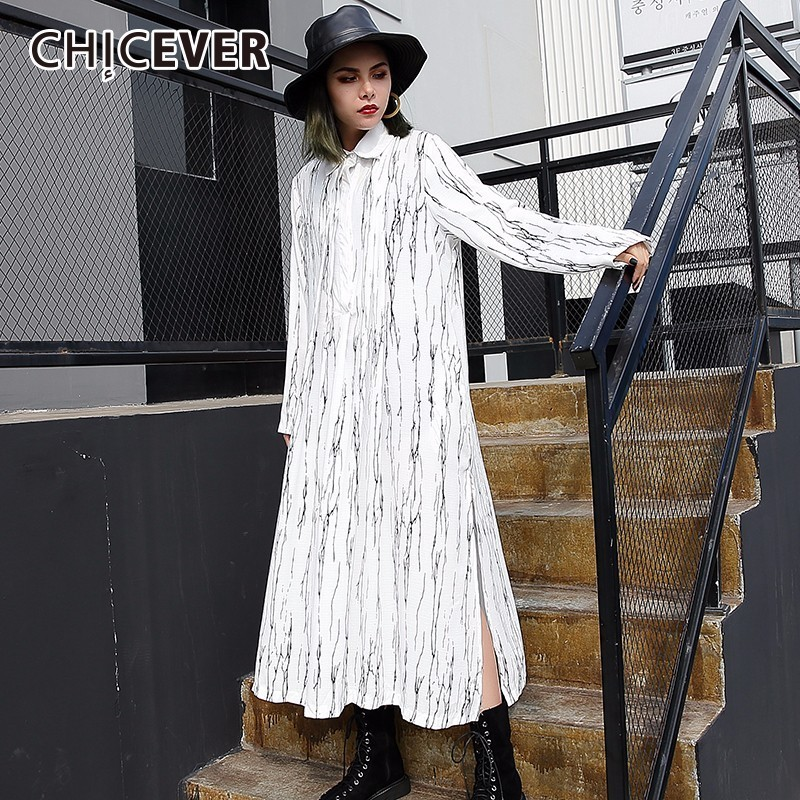 CHICEEVR 2018 Spring Striped Slim Women Dress Female Hem Split Long Sleeve Loose Big Size Dresses Shirt Clothes Fashion Casual