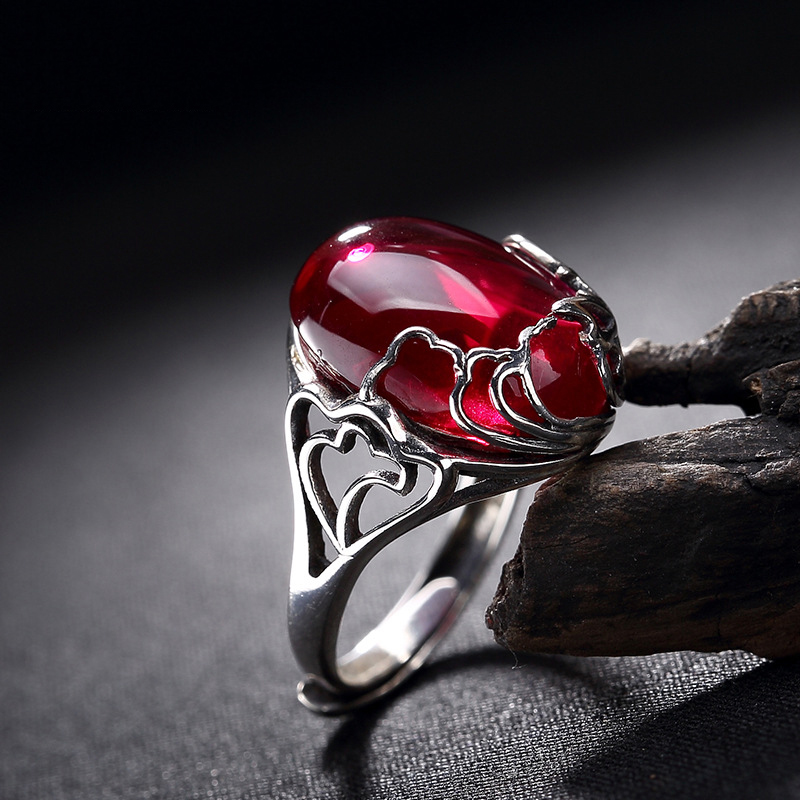 925 Sterling Silver Ruby Rings Big Natural Stone Wedding Rings For Women Jewelry