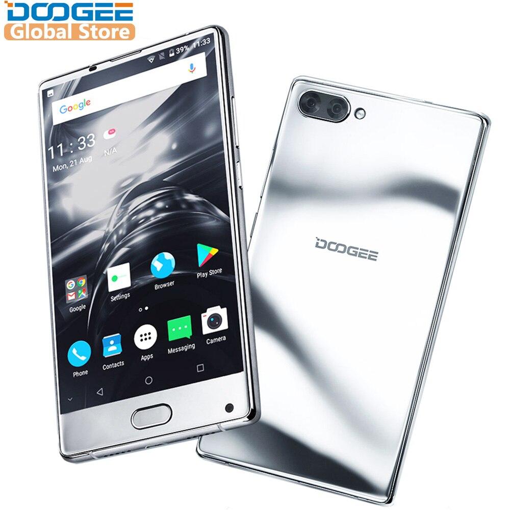 2018 D'origine DOOGEE de MÉLANGE Mirrow Argent Smartphone Android 7.0 Double Caméras 5.5 Pouces MTK Helio Octa Core 6 gb + 64 gb LTE 3380 mah P25
