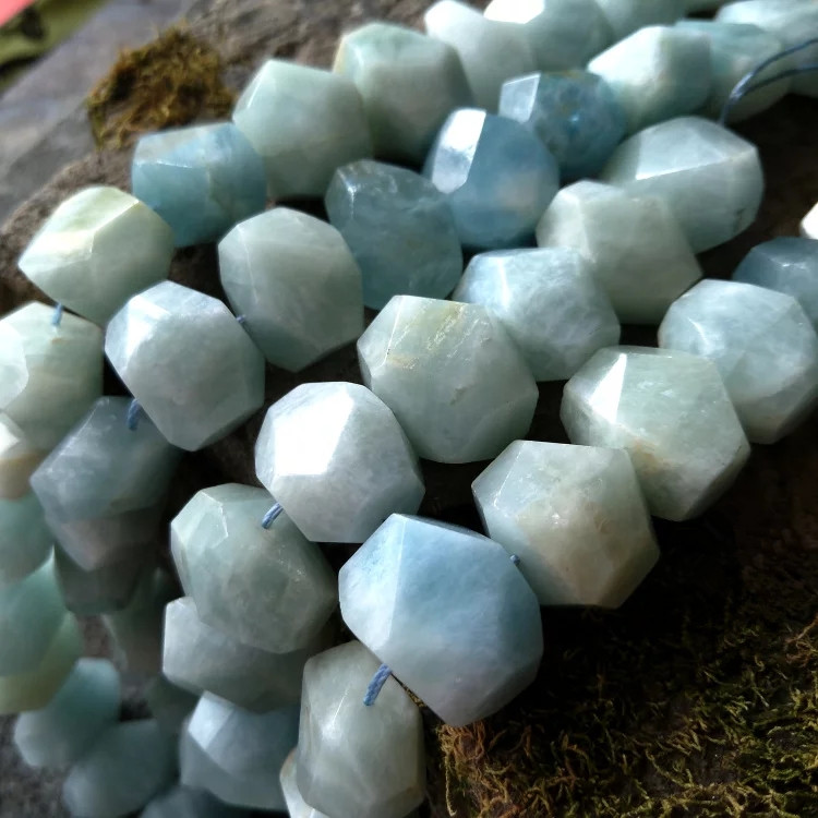 aquamarine blue flat baroque faceted 15 for DIY jewelry making loose beads FPPJ wholesale beads nature gem stone