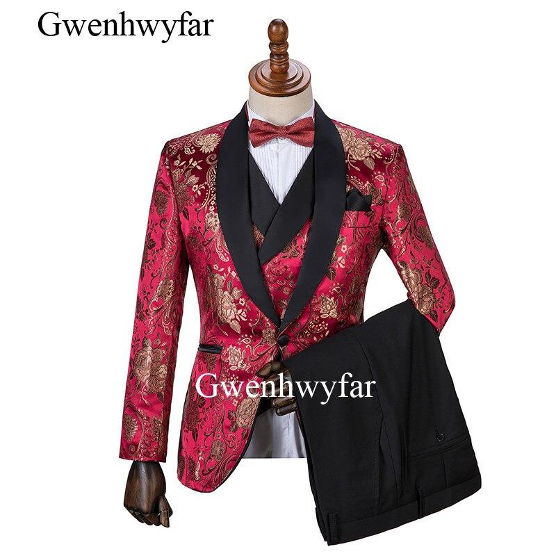 Gwenhwyfar 2019 nuevo diseño Jujube rojo peonía flor trajes de boda para hombres mejor hombre chaqueta de traje de novio esmoquin baile de graduación fiesta trajes-in Trajes from Ropa de hombre    1