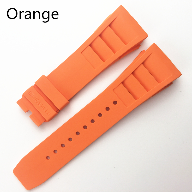 Image 4 - MERJUST 20mm Red Black Green Gray Orange Yellow Soft Silicone Rubber Watchband For Richard Watch Mille RM011 Strap BraceletWatchbands   -