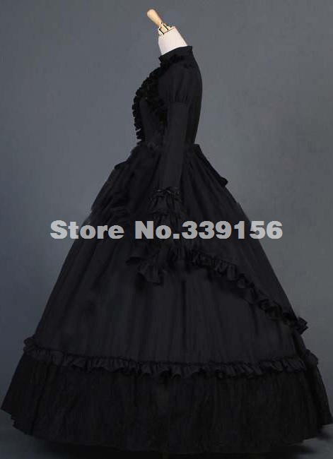 4611b44addf 2016 Vintage Black Long Flare Sleeve Renaissance Civil War Gothic Victorian  Dress Costume Medieval Halloween Victorian Gowns
