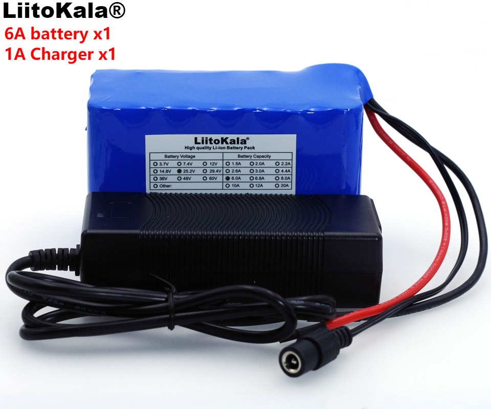 LiitoKala 24V 6Ah 6S3P 18650 Battery Lithium Battery 25.2 v Electric Bicycle Moped /Electric/Li ion Battery Pack+1A Charger varicore 24v 6ah 6s3p 18650 battery li ion battery 25 2v bms 6000mah electric bicycle moped electric battery pack 1a charger
