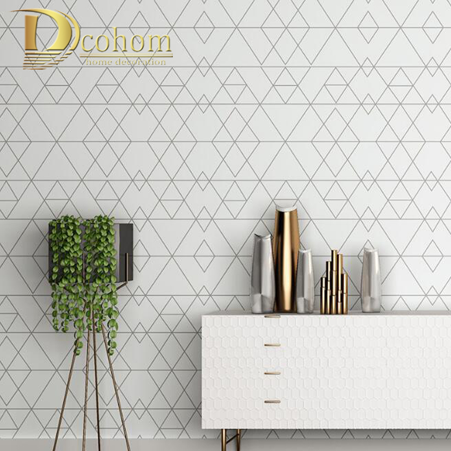 Black White Simple Pattern Graphic Trellis Wallpaper Diamond Geometrics Wall Cover Paper Lattice Wall Decals For TV Background diamond pattern candle cover