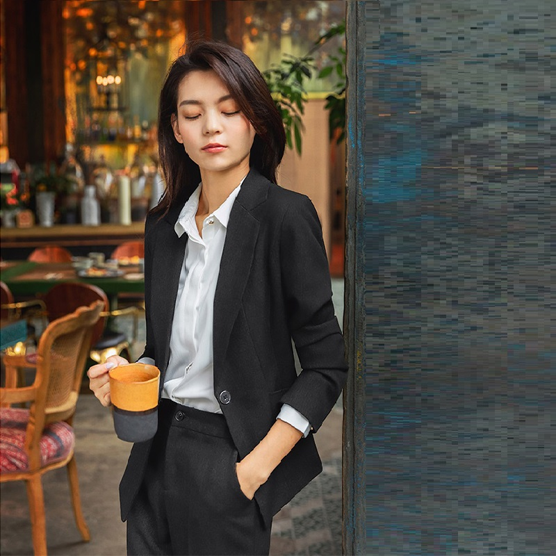 Alta Cortesía Oficina Fresco F14 Negocios Formal Black blue Suit Traje Pant  Trajes Coreana Entrevista Ropa ... 4e14d87cee3