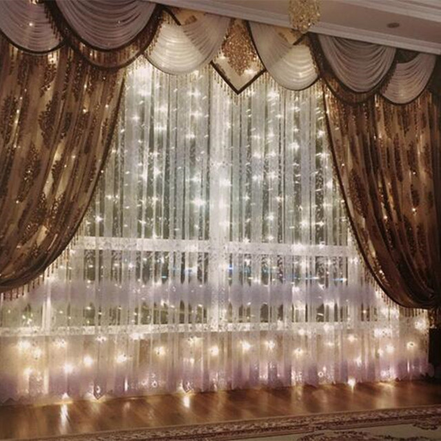 5M*80cm 3M*3M 3M*1M 3.5MLED Copper Curtain String Lights Holiday