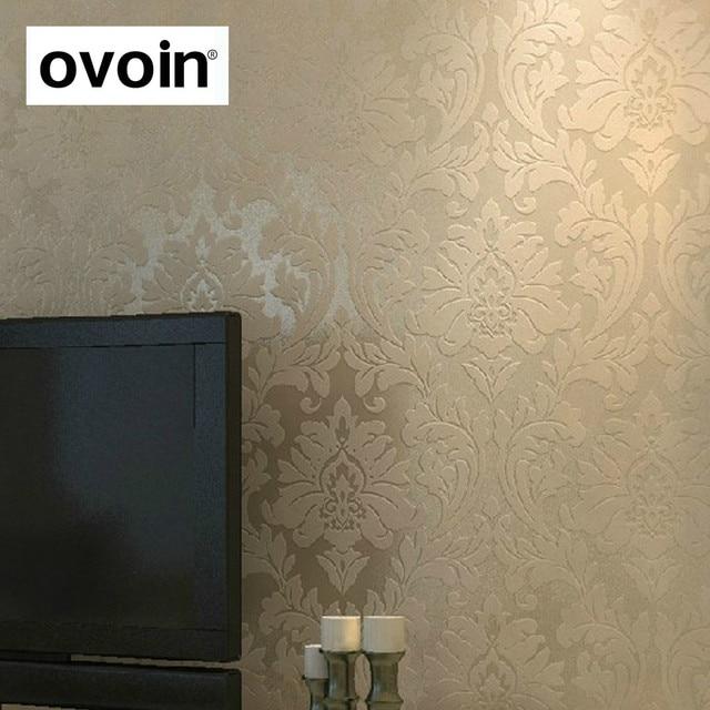 europenne damass motif beige papier peint pour salon dcoration murale non tiss chambre papier peint - Papier Peint Pour Salon