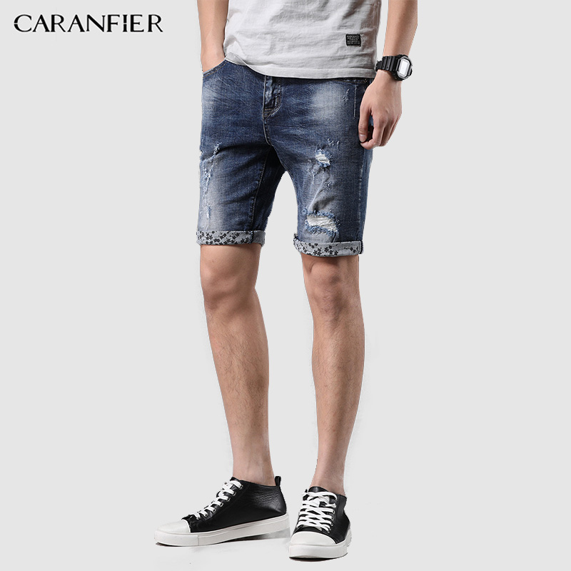 CARANFIER Jeans Shorts Man Summer 2018 Fashion Punk Style Biker Straight Denim Trousers Knee-Length Casual Zipper Cowboys Short