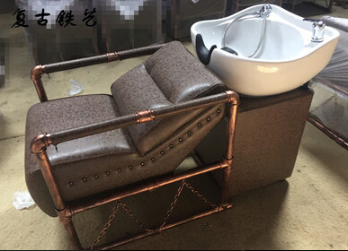 Solid wood hairdressing chair restoring ancient ways. New hair salons haircut with chairs. Shampoo bed