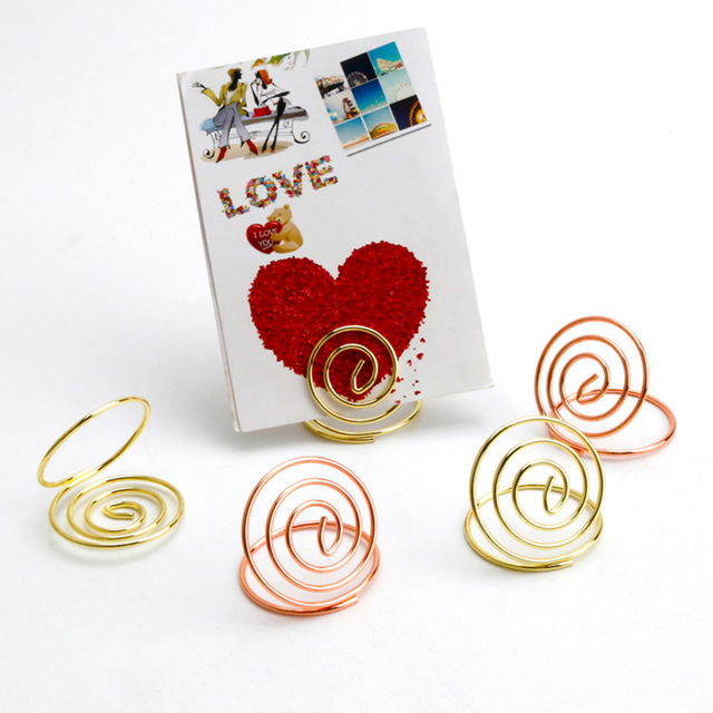 Pcs Table Number Holders Stainless Steel Ring Shape Card Holder - Table pad clips