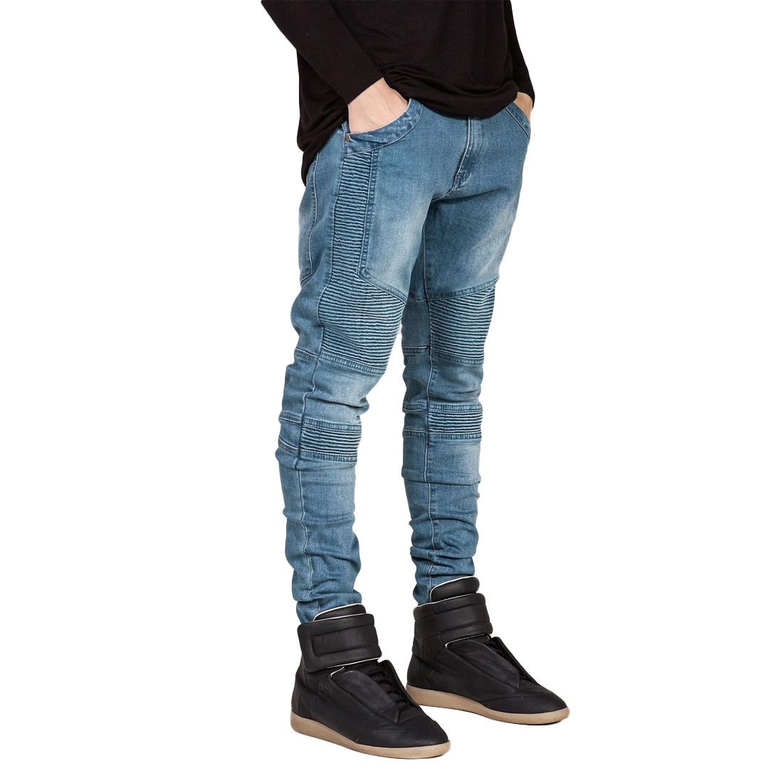 Black Blue Gray Stretchy Jeans Men Zipper Up Slim Fit Mens Denim Trousers 2017 New Patchwork Solid Men Brand Jeans Pants Ripped 2017 fashion patch jeans men slim straight denim jeans ripped trousers new famous brand biker jeans logo mens zipper jeans 604