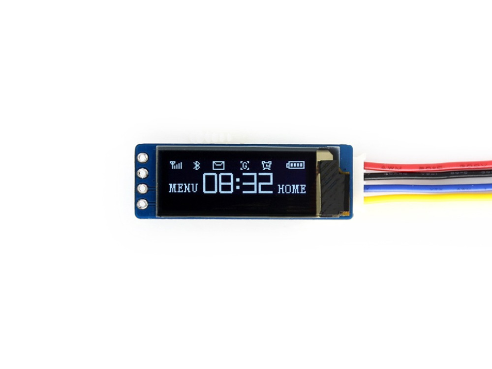 Waveshare 0.91inch OLED Display Module 128x32 Pixels I2C Interface Embedded Controller 16-bit Grey Level SSD1306 Driver 3.3V/ 5V