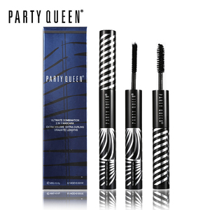 Party Queen Combination 2 In 1 Mascara Lengthening Volume Thick Mascara Gel + 3D Black Fiber Makeup Curling Extension Eyelashes