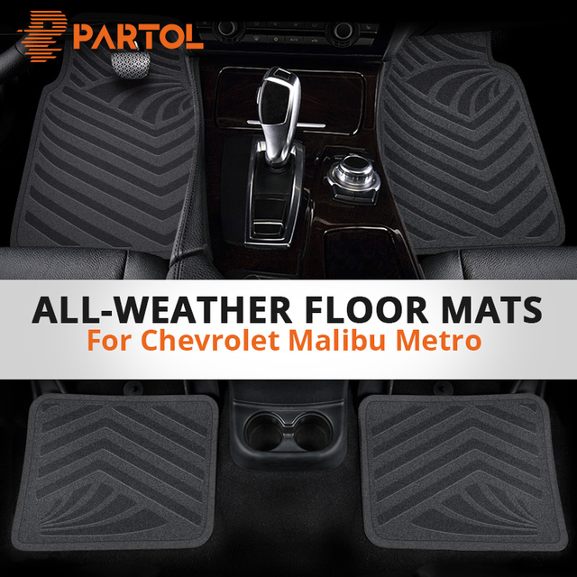 Partol 4pcs Universal Car Waterproof Flexible Durable Trimmable Floor Mats PVC Car Carpet Floor Mats for Chevrolet Malibu Metro