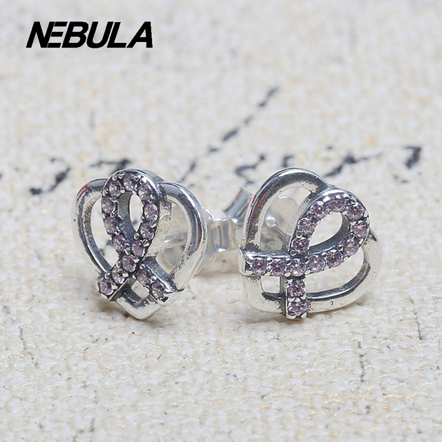 925 Sterling Silver Red ribbon Heart Stud Earrings With Red CZ Compatible with Pandora Earrings Jewelry