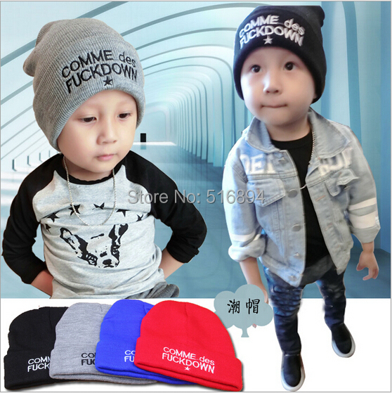 Retail Winter knitting hat for children fashion   beanies   warm boy cap kid's Letters Embroidery   skullies     beanies   for girl