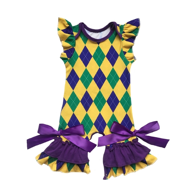 df4acdb797f NEW ORLEANS Mardi Gras Green Gold Purple baby Jumpsuit Romper St. Patrick  shamrock Green Clover Valentines Easter Spring gowns