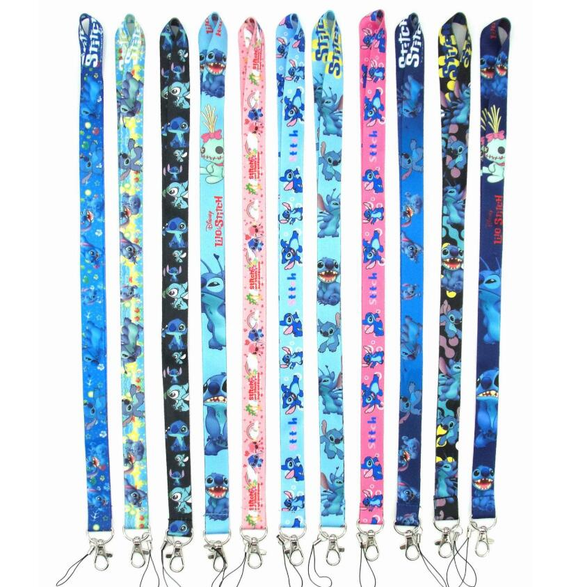 1 PCS 11 Design Cartoon Cute Lilo & Stitch Key Lanyards Id Badge Holder Keychain Straps For Mobile Phone Free Shipping