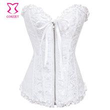 White Jacquard Overbust Corselet Plus Size Zipper Corset Wedding Sexy Gothic Lingerie Women Bustier Top Espartilho Bridal Corset цена 2017