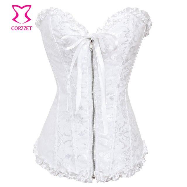 6a72b7d85 White Bustier Top Jacquard Overbust Corselet Plus Size Zipper Corset  Wedding Sexy Gothic Lingerie Women Espartilho Bridal Corset